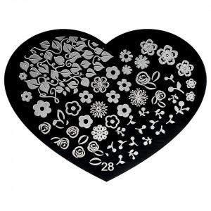 Matrita Metalica Stampila Unghii Hearts #28