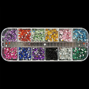 Strasuri Unghii Circulare 036 diverse Culori - Set 12 bucati