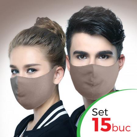 Комплект защитна маска за лице Fashion - 15 бр. , Бежов цвят