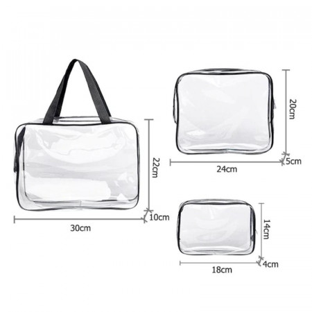Комплект 3 чантички, прозрачни , закопчаване с цип (за козметични продукти)