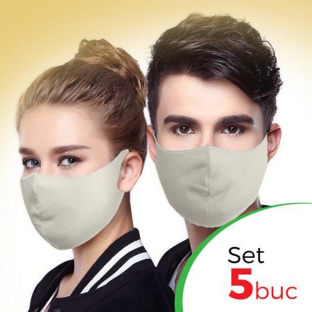 Комплект защитна маска за лице Fashion - 5 бр. , Крем цвят