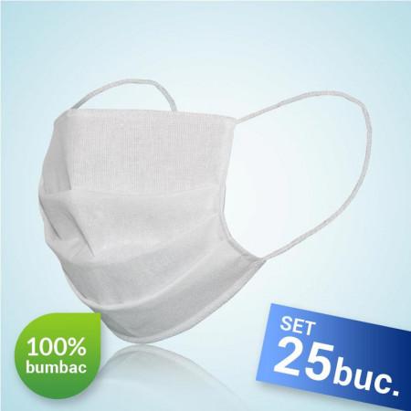 Комплект от 25 броя, Маска за лице за многократна употреба, 100% памук, бял цвят, произведена в Румъния