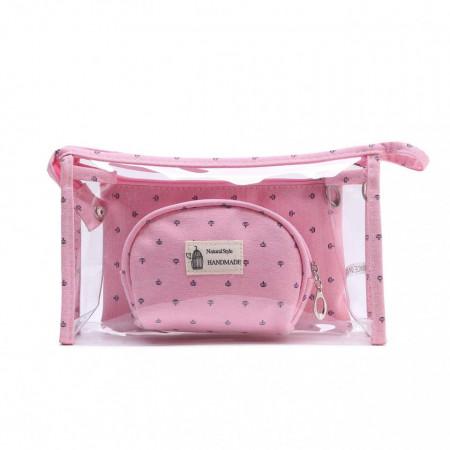 Комплект 3 чантички, прозрачни , копчаване с цип (за козметични продукти)