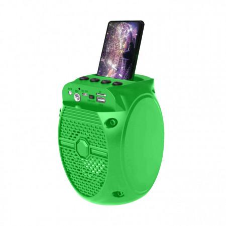 ZQS-1308 преносима караоке тонколона с FM радио, Bluetooth, USB, MP3 / TF-карта, вход за микрофон, LED, зелена