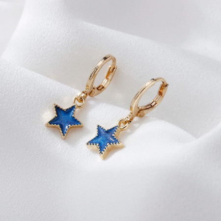 Дамски обеци, blue star - златист цвят CD028