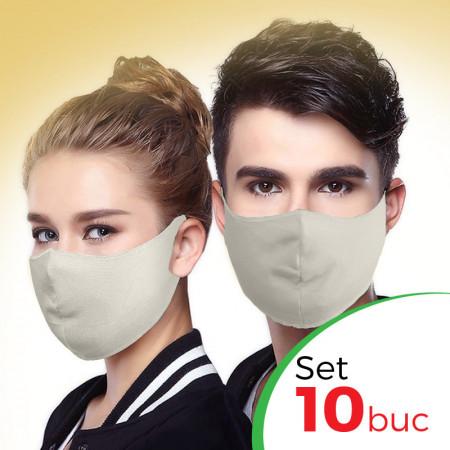Комплект защитна маска за лице Fashion - 10 бр. , Крем цвят