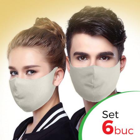 Комплект защитна маска за лице Fashion - 6 бр. , Бежов крем