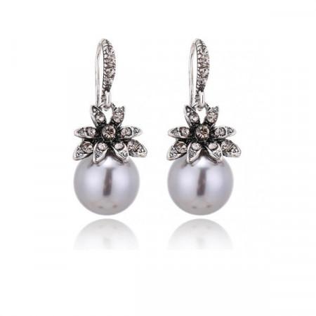 Дамски обеци, silver flower - сребрист цвятCD029