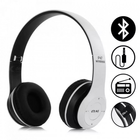 Casti wireless P47, Stereo Headphones, Fm Radio, MP3 Player, Microfon incorporat, Port Micro SD, Alb
