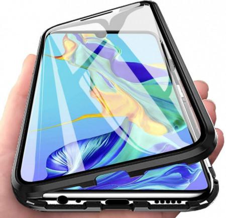 Husa Samsung Galaxy S10e cu Protectie Full 360° cu Prindere Magnetica Transparenta cu Margini Negre