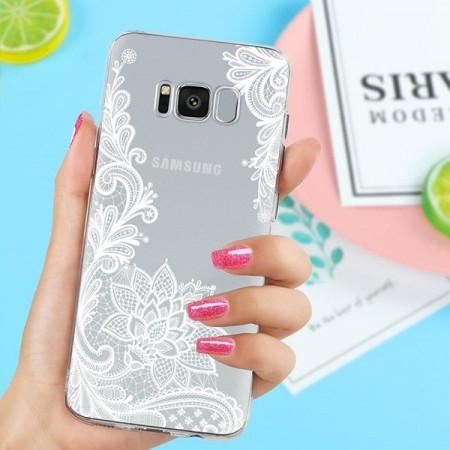Samsung Galaxy S7 Edge -Прозрачен силиконов калъф White Lace Model