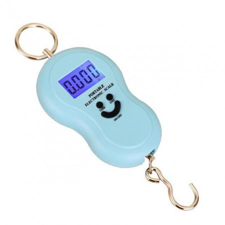 Cantar Electronic Portabil de Mana, Max 50Kg, Ecran LCD, Albastru