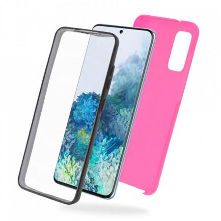 Калъф за Samsung Galaxy S20 - 360 Fully Поликарбонат и силконово фолио - Розов цвят