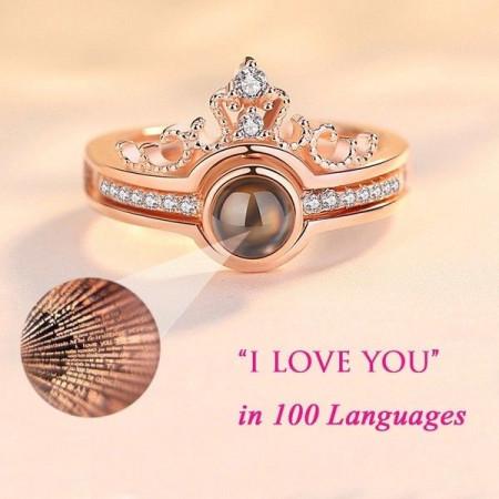 """Пръстен с послание """"Обичам те"""" на 100 езика, Златист"""