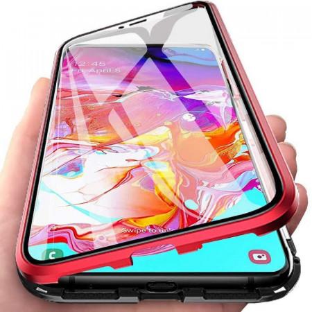 Husa Samsung Galaxy S10e cu Protectie Full 360° cu Prindere Magnetica Transparenta cu Margini Rosii