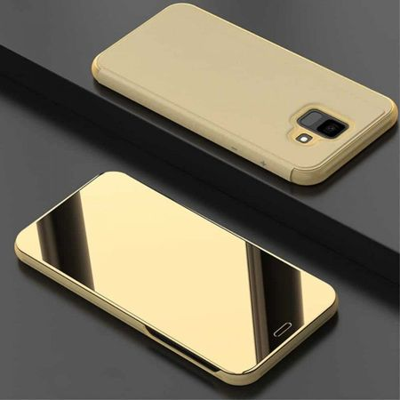Samsung Galaxy J6 PLUS - Калъф Book Cover Clear View –златист цвят