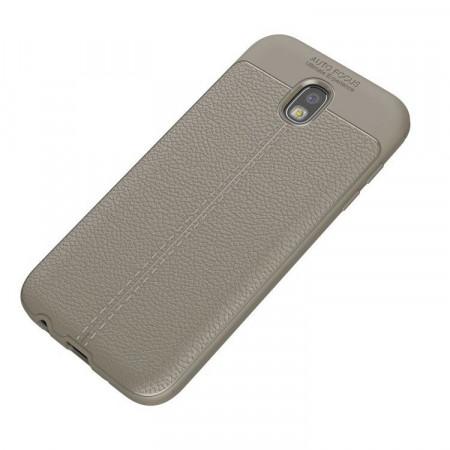 Samsung Galaxy J5 (2017) - Защитен сив калъф TPU Leather Texture