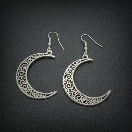 Дамски обеци, silver moon - сребрист цвят CD035