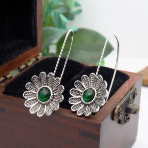 Дамски обеци, green flower - сребрист цвят CD036