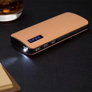 Професионална външна батерия, 20000mAh, бързо зареждане, Powerbank бежова еко кожа - PB-2000