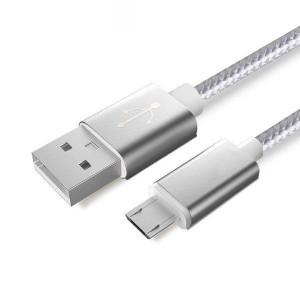 Android Micro USB - Кабел за зареждане или прехвърляне на данни сребрист 1,5 м