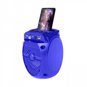 Boxa Portabila Karaoke ZQS-1308 cu Radio FM, Bluetooth, USB, MP3/TF-Card, Input Microfon, LED, Culoare Albastru