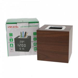 Ceas digital Cub lemn, LED, cu suport pixuri, senzor sunet, alarma, afisare temperatura si data,