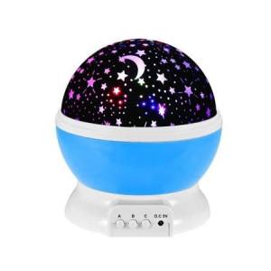 Lampa de Veghe cu Proiector Rotativ Stele 360 Star Master Alb-Albastru