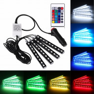 Lumini Ambientale auto RGB LED, Telecomanda, Cablaj inclus