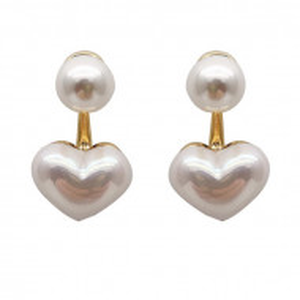 Дамски обеци, pearl heart - бял цвят CD027