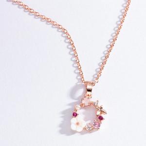 Дамско колие Primavera - розов цвят COL149