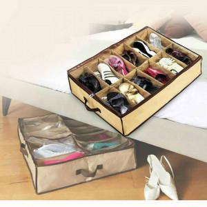 Органайзер за обувки, 12 отделения, кремаво / кафяво