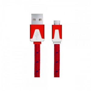 Плосък кабел за зареждане или прехвърляне на данни за Android 1 m , червен