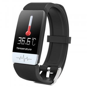 Bratara Fitness T1S Negru, ECG, Puls, Oxigenarea Sangelui, Temperatura Corpului, Bluetooth, Sedentarism, Alerte