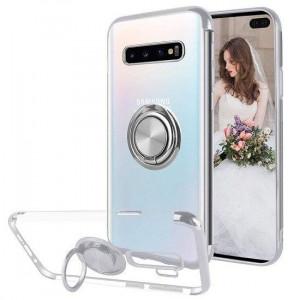 Samsung Galaxy S10 - Прозрачен силиконов калъф с въртящ се пръстен и сребрсити ръбове