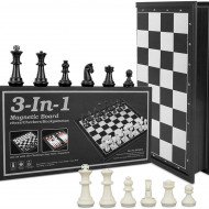 Toy, Шах и табла 3 в едно, магнитна дъска, 32 см
