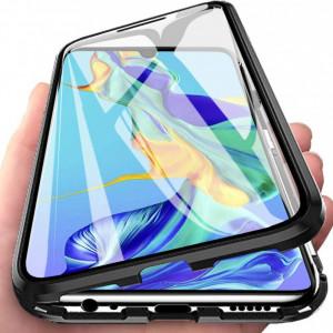 Калъф за Samsung Galaxy S10e с пълна 360 ° защита с прозрачна магнитна закопчалка с черни ръбове