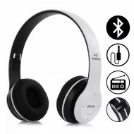 Casti wireless P47, Stereo Headphones, Fm Radio, MP3 Player, Microfon incorporat, Port Micro SD, Alb