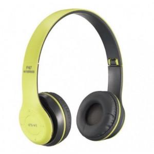 Безжични слушалки P47, Stereo Headphones, FM радио, MP3 Player, Вграден микрофон, Micro SD порт,Зелен