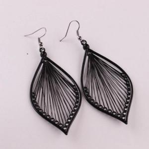 Дамски обеци, vintage leaf - черен цвятCD030