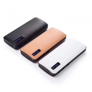 Професионална външна батерия, 30000mAh, бързо зареждане, Powerbank бяла еко кожа - PB-3000