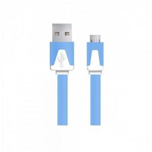 Android Micro USB - Плосък кабел за зареждане или прехвърляне на данни 1 м, син