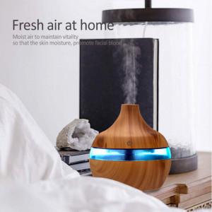 Difuzor Aromaterapie cu ultrasunete si Umidificator cu led, 300 ml, Light Wood