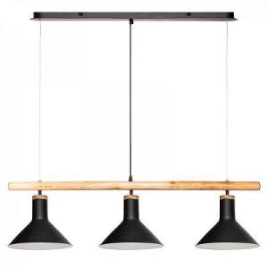 Lustra suspendata metalica, cu finisaje din lemn, PM1732503