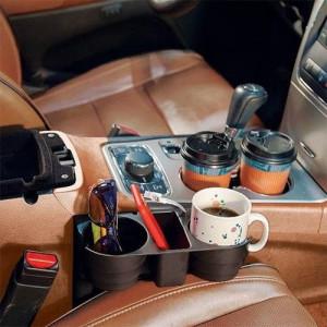 Organizator auto, suport 2 pahare, spatiu depozitare, universal