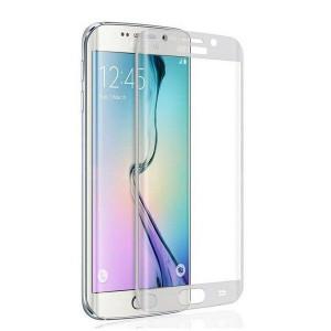 Извит стъклен протектор от закалено стъкло с бели ръбове за Samsung S7 EDGE