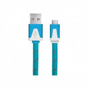 Плосък кабел за зареждане или прехвърляне на данни за Android 1м, син