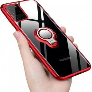 Прозрачен силиконов калъф за Samsung Galaxy S20 ULTRA с въртящ се пръстен и червени ръбове