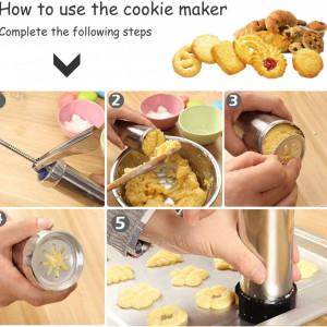 Устройство за бисквити, торта - 10 форми, 4 аксесоари за декориране, неръждаема стомана