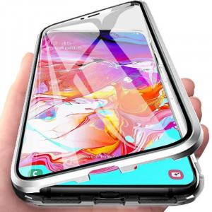 Husa Samsung Galaxy S10e cu Protectie Full 360° cu Prindere Magnetica Transparenta cu Margini Silver